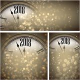 2018 New Year backgrounds with clock. Sepia 2018 New Year shining backgrounds set with clock. Vector Christmas illustration Royalty Free Stock Photos