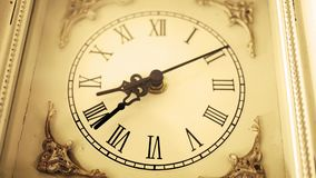 Sepia old fashioned antique western roman clock ticking slowly by Angle 1. Nov 24 2017 stock video
