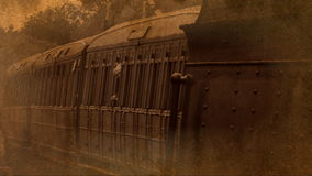 Old style shot of steam train and carriages 4K. Sepia old style shot of steam train moving slowly 4K stock footage