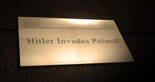 Sepia old telegram text series - Hitler invades Poland!. July 21 2018 stock footage