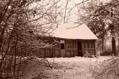 Sepia Oud Huis Stock Foto's