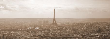 Sepia Paris Panorama. Beautiful sepia tone of Paris and the Eiffel tower - with a nice vintage look stock images