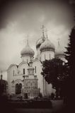 Sepia photo of Church Domes in Trinity Sergius Lavra Royalty Free Stock Photography