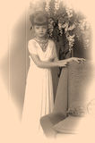 Sepia photo girl child Royalty Free Stock Photography