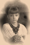 Sepia photo girl child Stock Photos