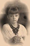 Sepia photo girl child Stock Photos