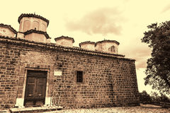 Sepia Photo of Old Byzantine Church at Greece Royalty Free Stock Photos