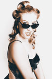 Retro Sepia Portrait Of A Surprised 60s Pinup Girl Royalty Free Stock Image