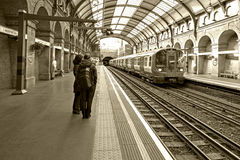 Sepia Photograph of train at Notting Hill Gate Station LOndon England Royalty Free Stock Photos