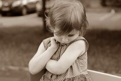 Sepia Photography of Girl in Polka Dot Dress Royalty Free Stock Photos