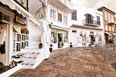 Sepia photography of shops at Hydra island Greece Royalty Free Stock Image