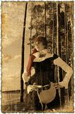 Sepia picture with burned edges (Pirate girl serie) Royalty Free Stock Photos