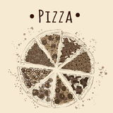 Sepia picture of pizza Stock Photo