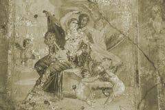 sepia pompeii фрески Стоковое Изображение RF