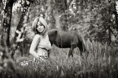 Sepia Portrait Of A Blonde Woman In The Forest Stock Photos
