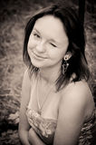 Sepia portrait of a girl in the forest Royalty Free Stock Photos