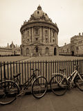 Sepia Radcliffe Camera and bicycles stock photos