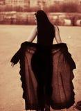 Sepia silouette van jonge vrouw met sluier Royalty-vrije Stock Afbeeldingen