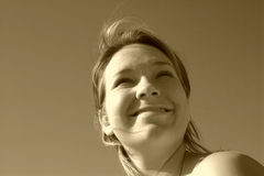 Sepia-sonniges Gesicht Stockfotos