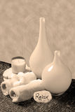 Sepia spa arrangement Royalty Free Stock Images