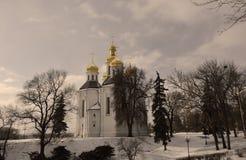 Sepia st. catherine church in Chernihiv, Ukraine, in winter Royalty Free Stock Photo