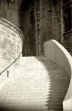 Sepia Stairway. Stairway of the Palace of the Popes in Avignon France in Sepia Tones stock images