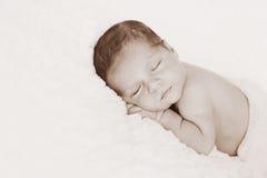 Sepia stemde het Pasgeboren Portret van de Babyjongen royalty-vrije stock foto