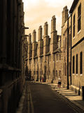 Sepia streets of the past. Victorian tall chimney street of cambridge sepia tone Stock Photography