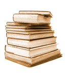 Sepia style isolated antiquarian books. Pile of antiquarian books in sepia style Stock Photos