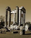 Sepia Temple of Zeus in the ancient Nemea Stock Image