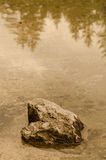 Sepia tinted rock in the water of a lake Stock Photography