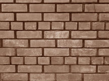 Sepia-Ton der Terrakotta-Ziegelstein-Wand, Hintergrund Lizenzfreies Stockfoto