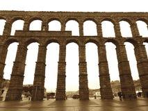 Sepia Tone of The Aqueduct of Segovia, Spain Royalty Free Stock Photo