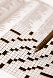 Sepia Tone Crossword Puzzle Royalty Free Stock Photo