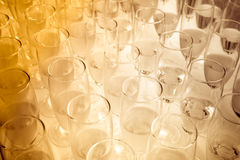 Sepia tone of party glasses filled with champagne Stock Images