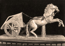 Sepia Tone The Romans Game - Two horses chariot Royalty Free Stock Photography