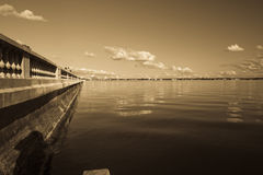 Sepia Toned Afternoon Bay Vista Royalty Free Stock Images