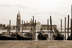 Sepia toned cityscape of Venice Royalty Free Stock Images
