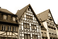Sepia toned half-timbered houses in Mainz Royalty Free Stock Images