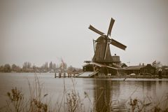 Sepia toned image of windmill in Zaanse Schans Royalty Free Stock Image