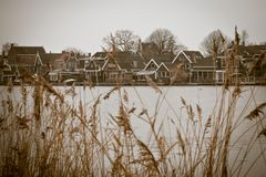 Sepia toned image of Zaanse Schans royalty free stock image
