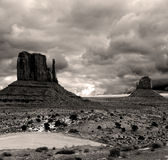 Sepia toned Monument Valley Cloudy Skies Royalty Free Stock Images