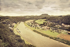 Sepia toned panoramic view of Rathen, Germany. Stock Photography
