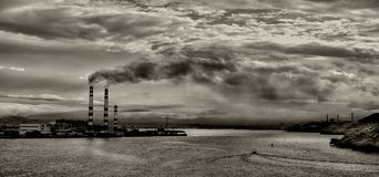 Pollution On The Bay Royalty Free Stock Photos
