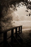 Sepia-toned wooden bridge and path. A small wooden footbridge leads out of the dark woods and into the light of a meadow Royalty Free Stock Photo