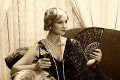 Sepia twenties cocktail Stock Photos