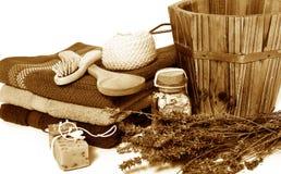 Sepia van de Sauna van Wellness stock fotografie