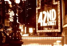 Sepia van de Straat van het Times Square tweeënveertigste Royalty-vrije Stock Fotografie