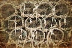 Sepia van zeekreeftpotten Stock Afbeeldingen