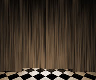 Sepia Vintage Curtain Spotlight Stage Background Royalty Free Stock Photo